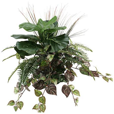 """Fiddle Leaf Fig, Fern, Oxalos and Grass 26""""W Faux Plant"""