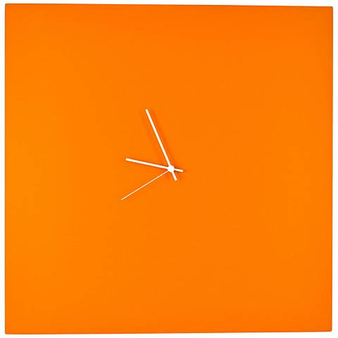"Orangeout Aluminum with White Hands 23"" Square Wall Clock"
