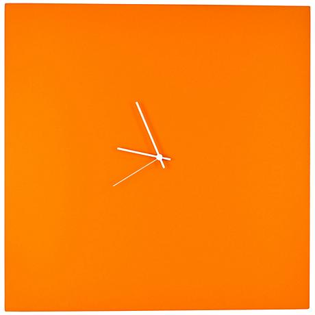 """Orangeout Aluminum with White Hands 23"""" Square Wall Clock"""