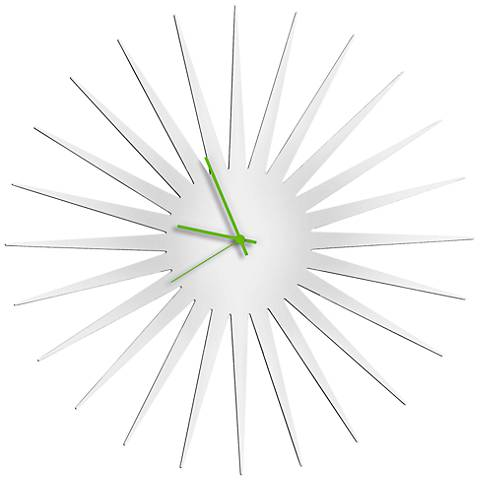 "MCM White with Green 23"" Round Starburst Wall Clock"