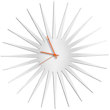 "MCM White with Orange 23"" Round Starburst Wall Clock"