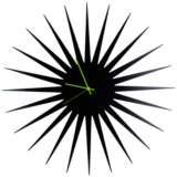 "MCM Black with Green 23"" Round Starburst Wall Clock"