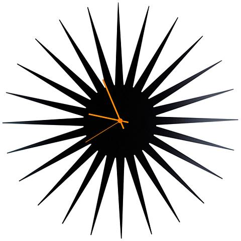 "MCM Black with Orange 23"" Round Starburst Wall Clock"