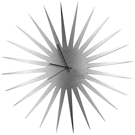 """MCM Silver with Black 23"""" Round Starburst Wall Clock"""