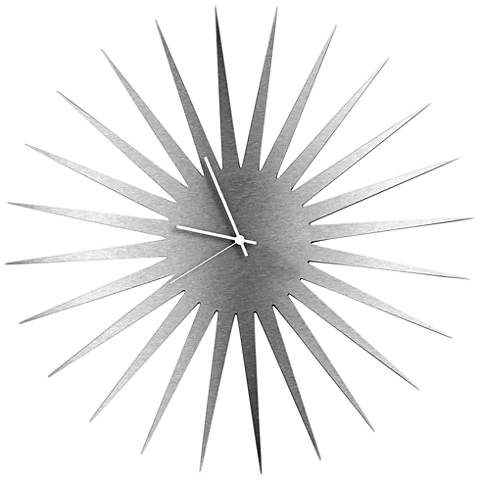 "MCM Silver with White 23"" Round Starburst Wall Clock"