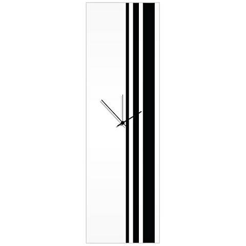 "Triple Stripe Gloss Black 30"" High Rectangular Wall Clock"
