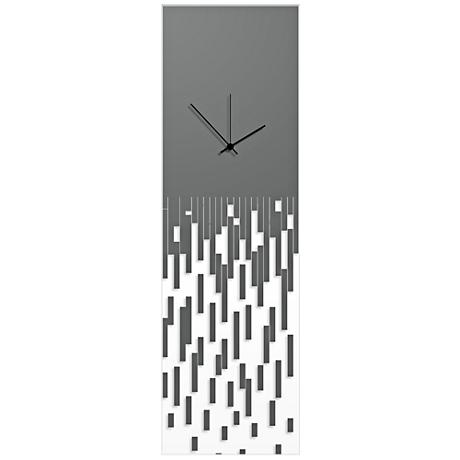 "Pixelated Surreal Gray 30"" High Rectangular Wall Clock"