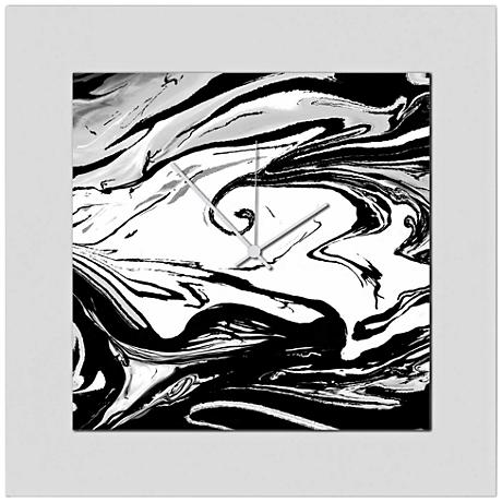 "Swirl Gloss Black 22"" Square 2-Layer Abstract Wall Clock"