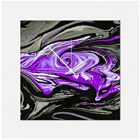"Swirl Gloss Purple 22"" Square 2-Layer Abstract Wall Clock"