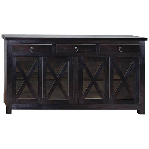 Yosemite Home Decor Lacquered Wood 4-Door Accent Cabinet