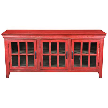 Yosemite Home Decor Distressed Red 3-Door Display Console