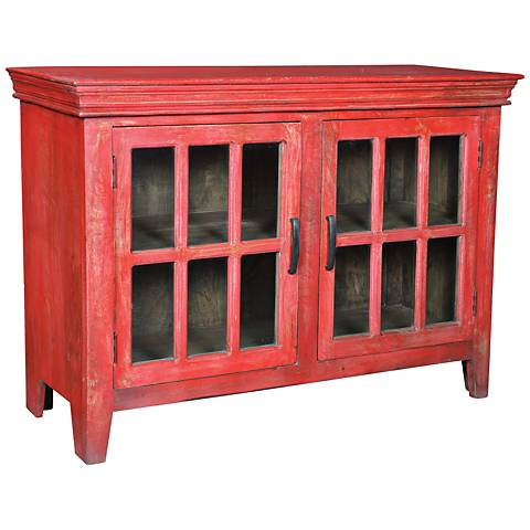 Yosemite Home Decor Distressed Red 2-Door Display Cabinet