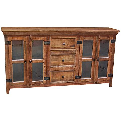 Yosemite Home Decor Mangifira Wood 4-Door Display Cabinet