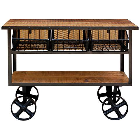 Yosemite Home Decor Lacquered Mango Wood 2-Shelf Cart