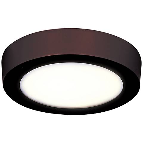 "Strike 7"" Wide Round Bronze LED Ceiling Light"
