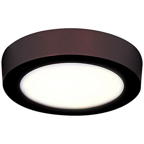 "Strike 7"" Wide Round Bronze LED Ceiling Light"