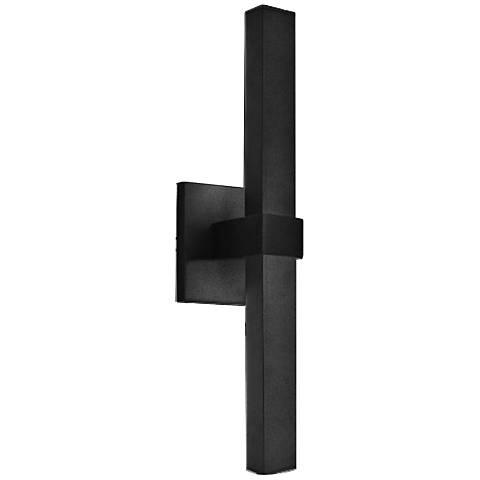"Vertical 17 1/2"" High Black 2-LED Outdoor Wall Light"