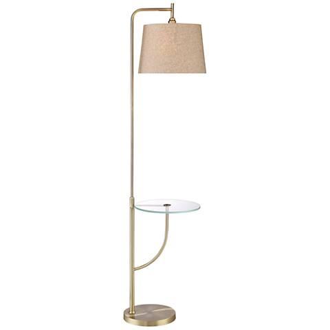 Lisbon Mid-Century Brass Finish Floor Lamp with Tray Table