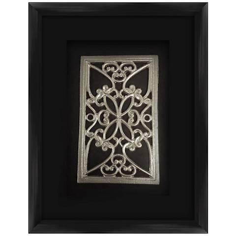 "Silver Leafed Medallion 17 1/2"" High Framed Wall Art"