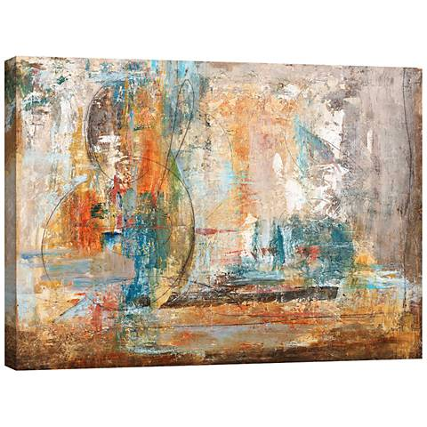 "Orange and Blue Abstract 40"" Wide Canvas Wall Art"