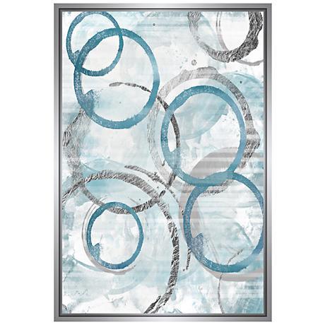 Blue Circles Framed 37 3 4 Quot High Framed Canvas Wall Art