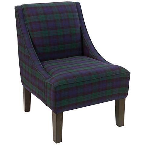 Uptown Blackwatch Fabric Swoop Armchair