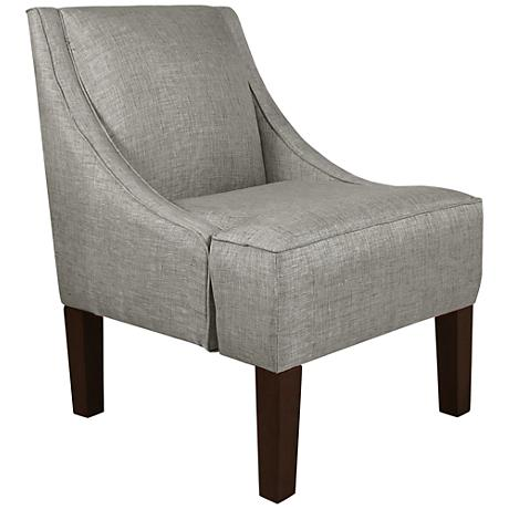 Uptown Groupie Pewter Fabric Swoop Armchair
