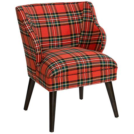 T-bird Ancient Stewart Red Fabric Armchair