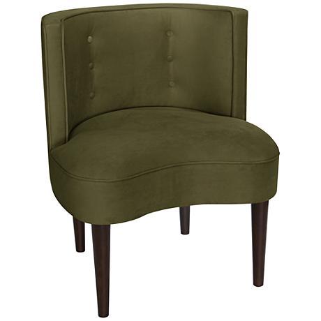 Curve Ball Regal Moss Green Fabric Armless Accent Chair