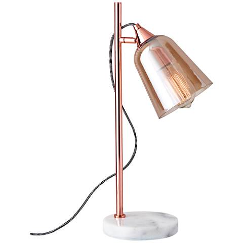 Marlon Shiny Copper with Amber Glass Shade Accent Table Lamp
