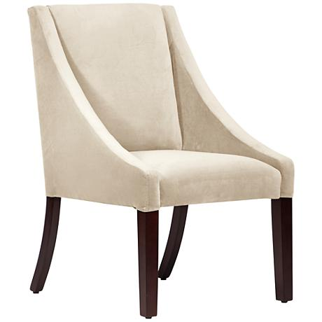Villager Regal Antique White Fabric Swoop Dining Chair