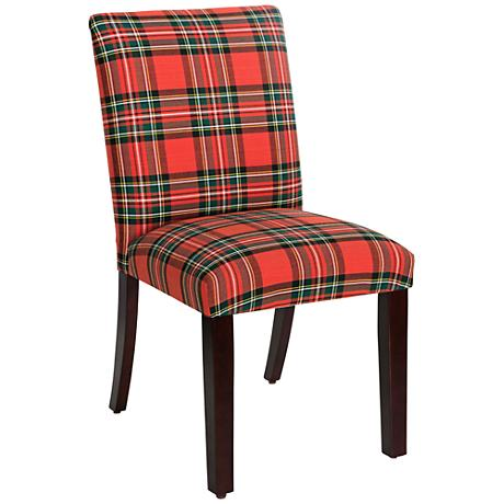Main Street Ancient Stewart Red Fabric Dining Chair