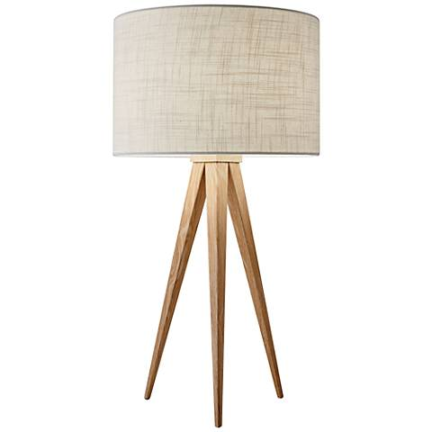Director Natural Wood Tripod Table Lamp