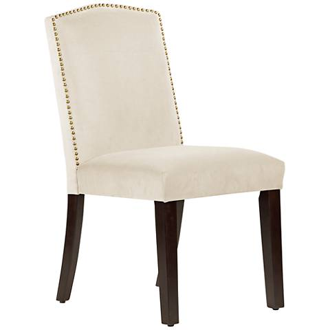 Calistoga Regal Antique White Fabric Arched Dining Chair