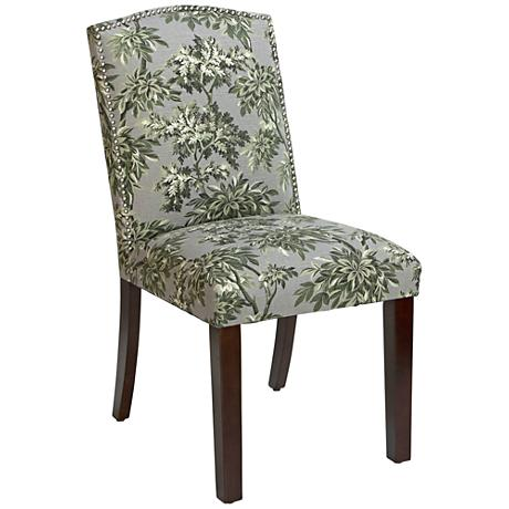 Calistoga Sylvan Toile Graystone Fabric Arched Dining Chair