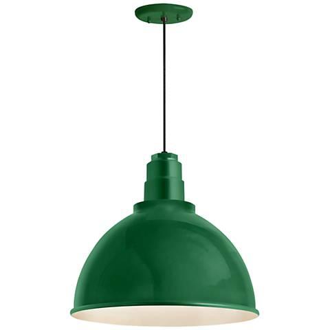 "RLM Deep Reflector 12""H Hunter Green Outdoor Hanging Light"