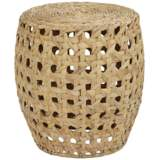 Alder Water Hyacinth Cane Weave Indoor-Outdoor Accent Table