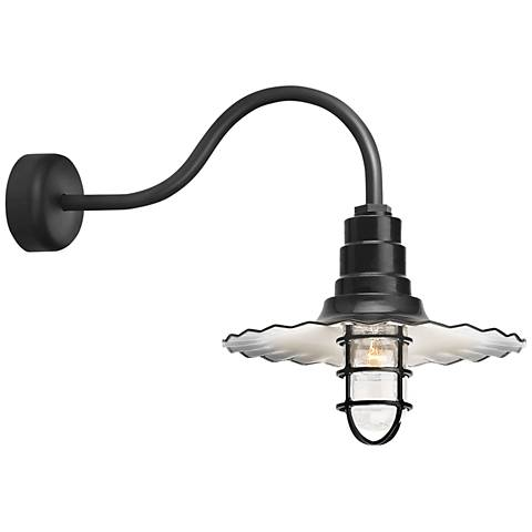 """RLM Radial Wave 15 3/4"""" High Black Outdoor Wall Light"""