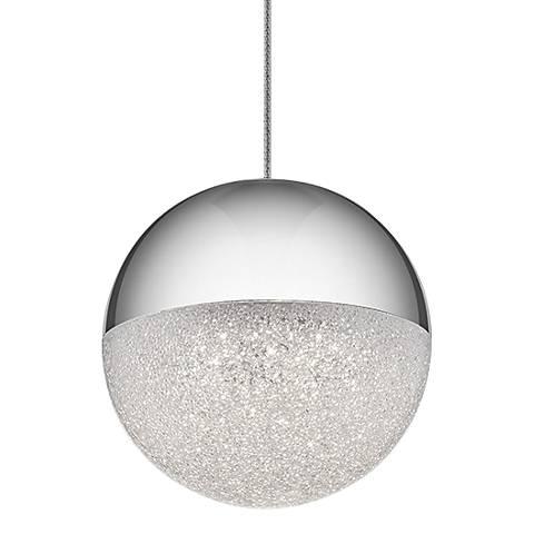"""Elan Moonlit 4 3/4"""" Wide Chrome LED Mini Pendant"""