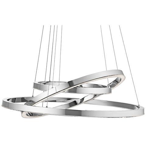 """Elan Opus 31 1/2"""" Wide Chrome 3-Ring LED Pendant Light"""