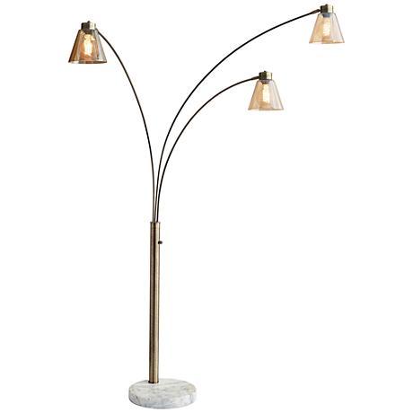 Sienna Antique Brass Adjustable 3-Arm Arc Floor Lamp