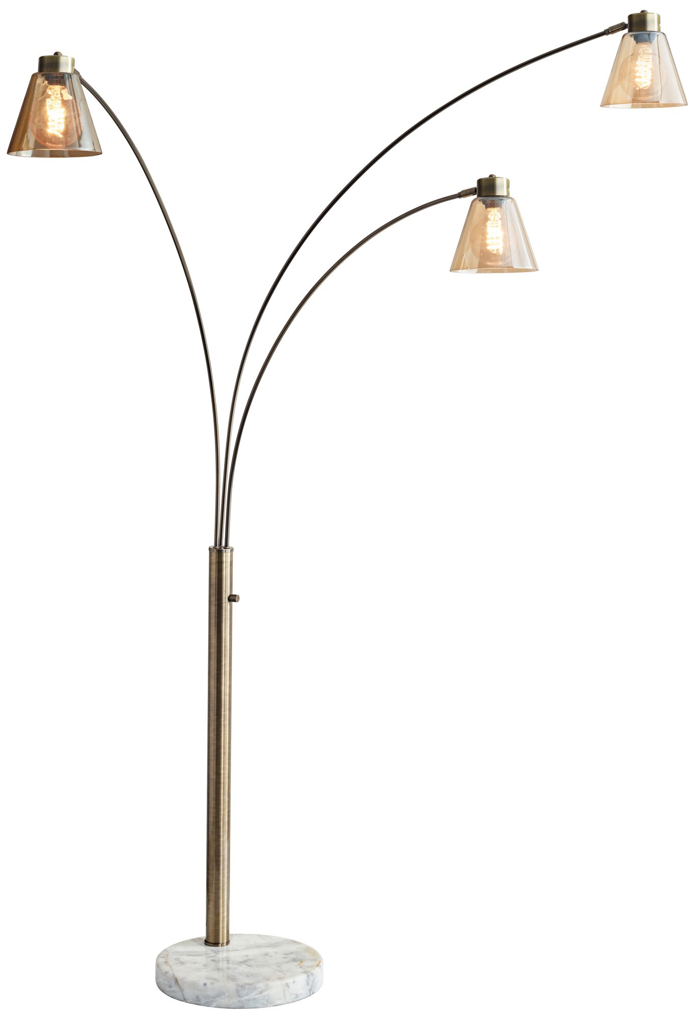 Sienna Antique Brass Adjustable 3 Arm Arc Floor Lamp