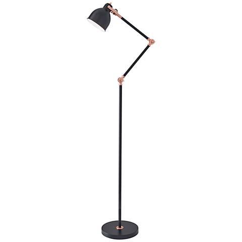 Holbrook Black and Copper Adjustable Floor Lamp