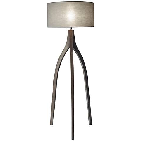 Sherwood Pine Wood Adjustable Tripod Floor Lamp