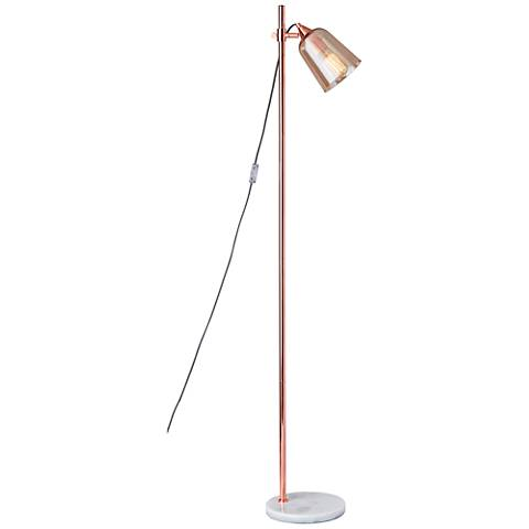 Marlon Shiny Copper with Amber Glass Shade Floor Lamp