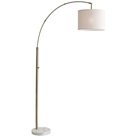 Bowery Antique Brass Adjustable Arc Floor Lamp