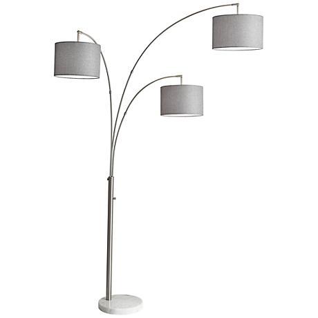 Bowery Brushed Steel Adjustable 3 Arm Arc Floor Lamp