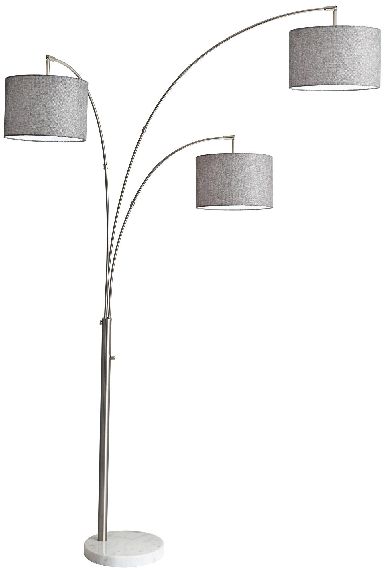 bowery brushed steel adjustable 3arm arc floor lamp