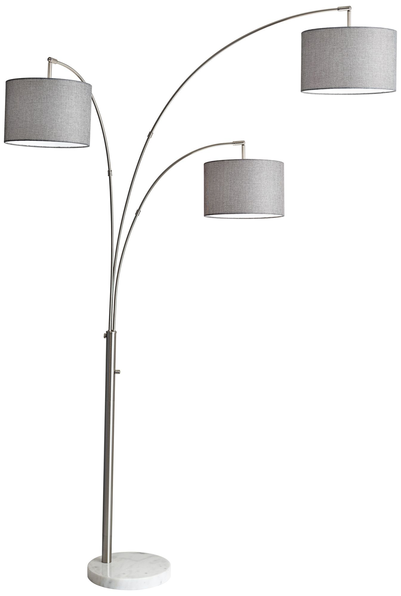 Bowery Brushed Steel Adjustable 3 Arm Arc Floor Lamp   #12W15 | Lamps Plus