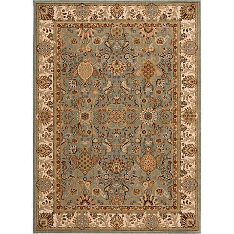 Nourison Lumiere KI602 Slate Blue Wool Area Rug